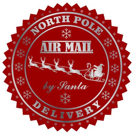 Livraison sur le terrain du Nord par le cachet de la poste de Santa. Illustration