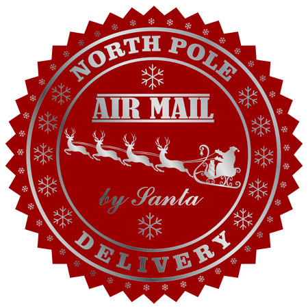 North Field delivery by Santa post stamp. Illustration