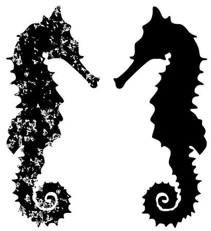 Illustration de silhouette de grunge de cheval de mer. Illustration