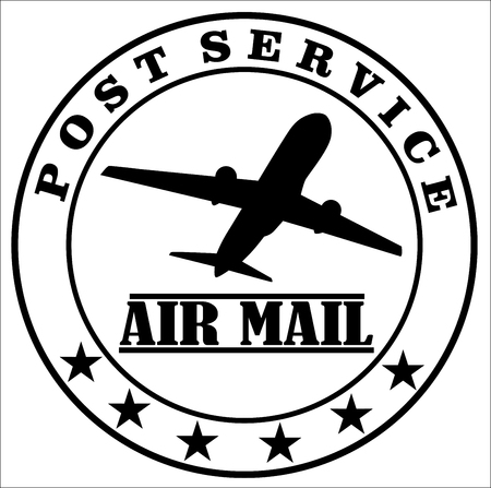 Air mail post service stamp vector. Illustration