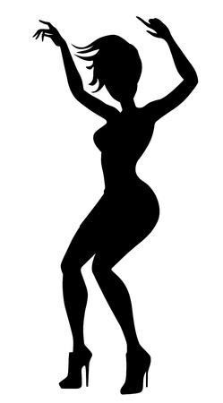 Young woman dancing on high heels vector.