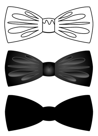 Set of bow ties vector on white background illustration.