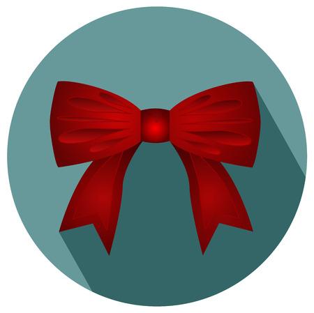 Gift bow ribbon silk with shadow vector illustration. Illustration