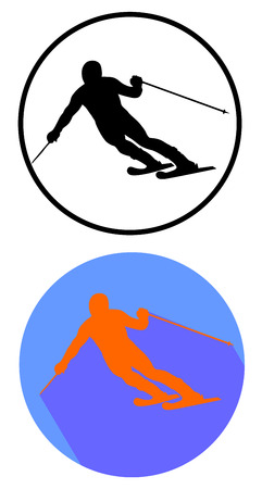Alpine skiing vector flat design icons