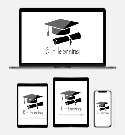 E-learning concept with laptop, tablet and smartphone vector eps 10