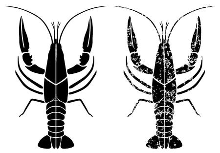 crayfish black grunge vector eps 10