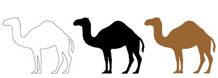 Camel set black white and bronze vector.