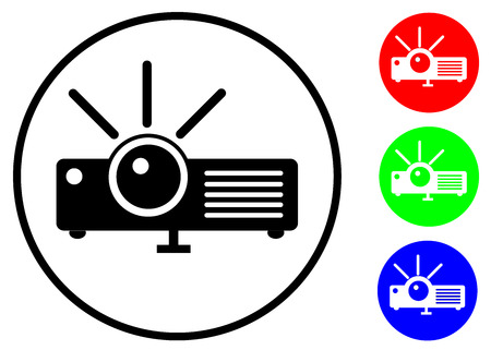 Set icon a flat projector with black and RGB color