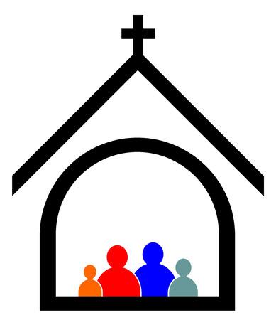 교회 가족 개념 벡터 eps 10