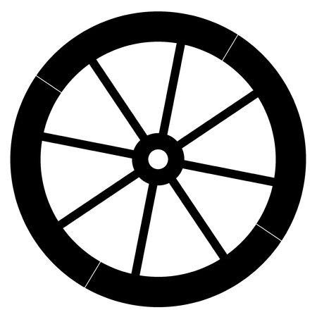 Old fashion horse vehicle wagon wheel vector. Vettoriali