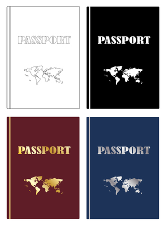 Passports with world map icon set vector eps 10 Vectores