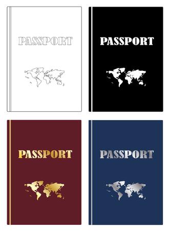 Passports with world map icon set vector eps 10 Illustration