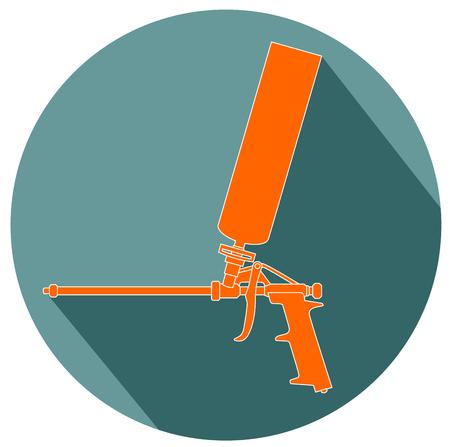 Foam gun flat design vector.