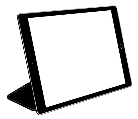 Tablet computer with cover. Isolated on white background, vector illustration.