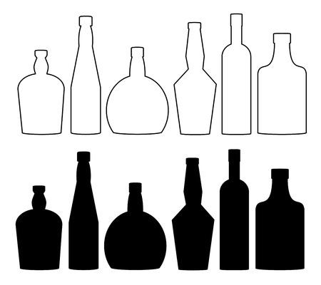 Bottles for alcoholic beverages set vector.