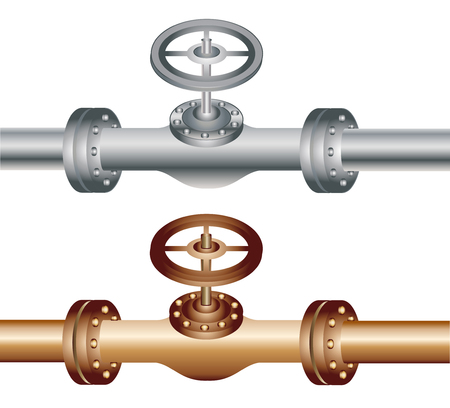 Pipe with metal and brass vector