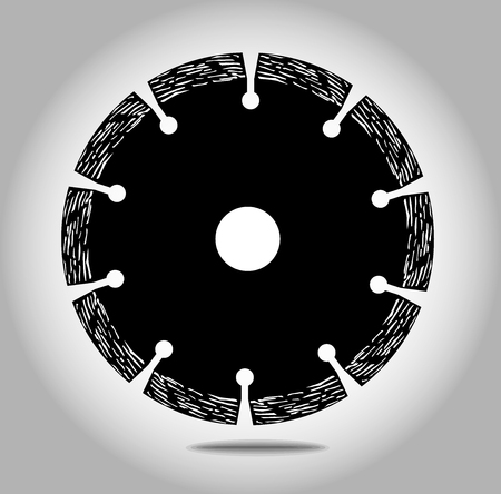 Cutting disk with diamonds - diamond disc for concrete on white background vector eps 10