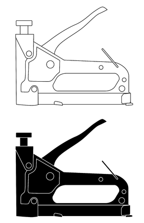 Furniture stapler set icon vector.