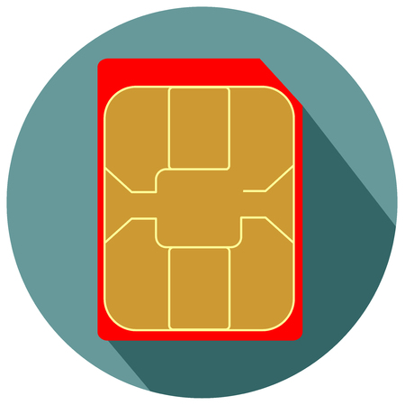 Mobile phone nano sim card flat design icon vector Illustration
