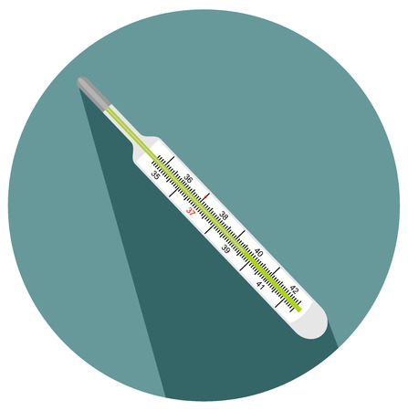 Medical thermometer for measuring human body temperature. Illustration