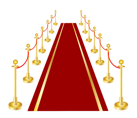 A red carpet and velvet rope with golden brass. Stock Illustratie