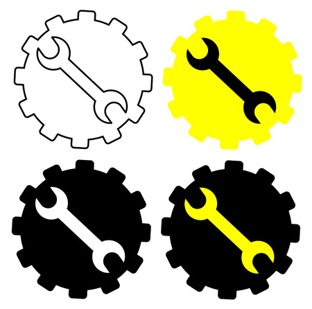 Gear And Wrench icon set vector eps 10  イラスト・ベクター素材