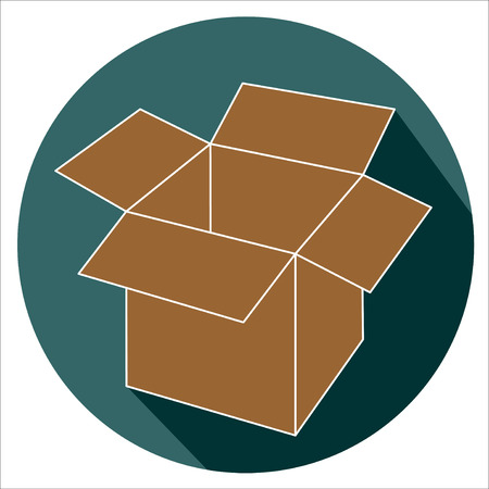Open cardboard box flat design icon.