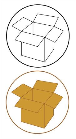 Open cardboard box set icon.