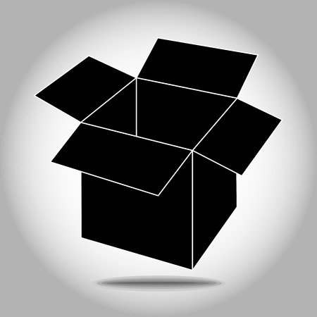 Open cardboard box icon. Illustration