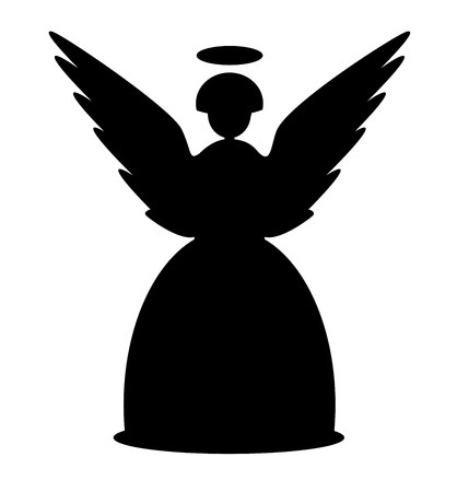 Christmas angel black icon vector eps 10