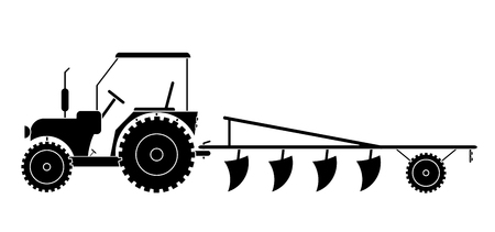 Tractor with agricultural machinery for field work vector eps 10