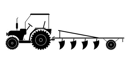 Trattore con macchine agricole per il lavoro sul campo vettore eps 10