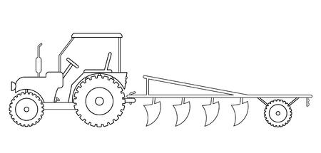 Tracteur avec des machines agricoles pour le travail sur le terrain vecteur eps 10