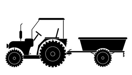 tractor with trailer vector eps 10 Illustration