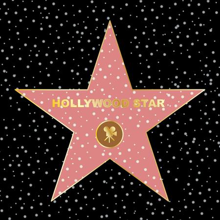 star on the celebrity fame of walk boukevard vector eps 10