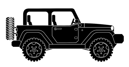 SUV jeep for safari and extreme travel pictogram vector eps 10