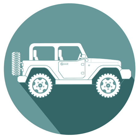 SUV jeep for safari and extreme travel flat design icon vector eps 10