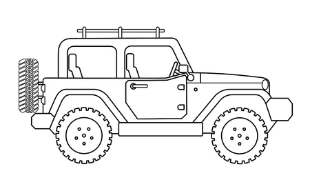 Suv jeep for safari and extreme travel drawing vector eps 10