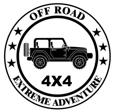 SUV jeep for safari and extreme travel stamp vector eps 10
