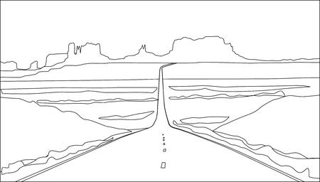 Arizona Straßenlandschaft Vektorgrafik