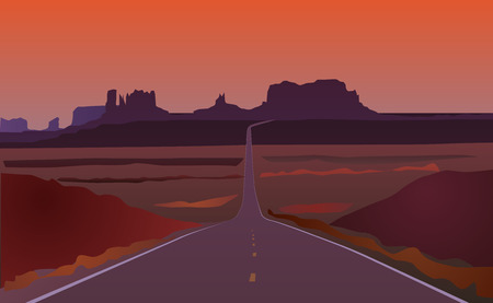 Arizona road landscape Иллюстрация