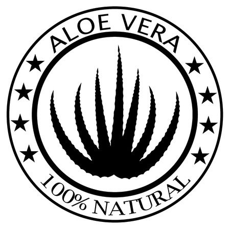 Rubber stamp with text 100% Aloe Vera