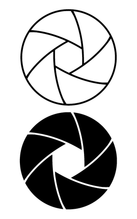 ensemble d'icônes de bague d'ouverture de l'objectif de la caméra