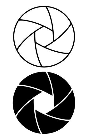 Kameraobjektiv Blendenring Icon Set