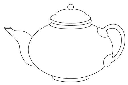 Teiera rotonda cinese, contorno grafico monocromatico