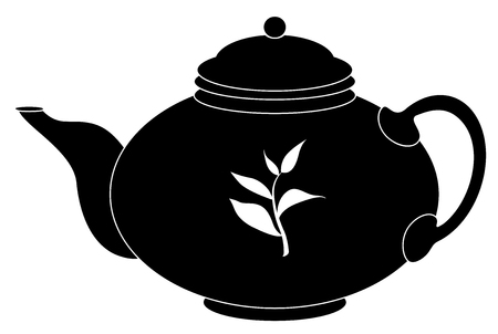 China round teapot, graphic monochrome contour Vettoriali
