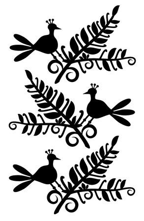 pattern with flowers and birds Ilustração