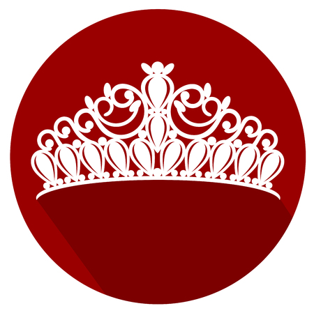 tiara crown women's wedding with stones flat design icon vector eps 10