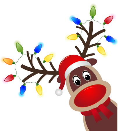 Christmas character Rudolph with light. Head of Happy reindeer with red nose vector eps 10 Vettoriali