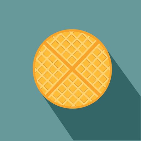 vector breakfast waffle, belgium round waffle sweet delicious food concept vector eps 10
